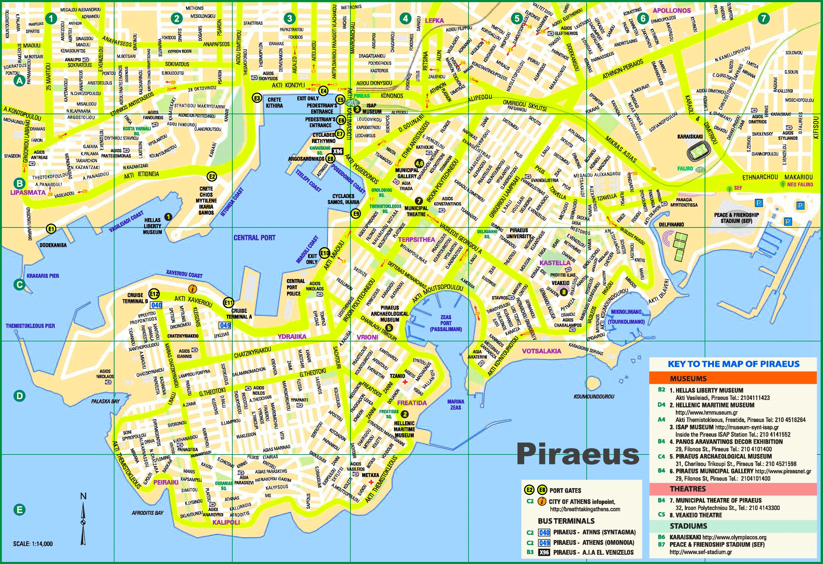 Piraeus tourist map