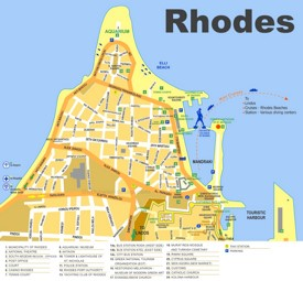 Rhodes City sightseeing map