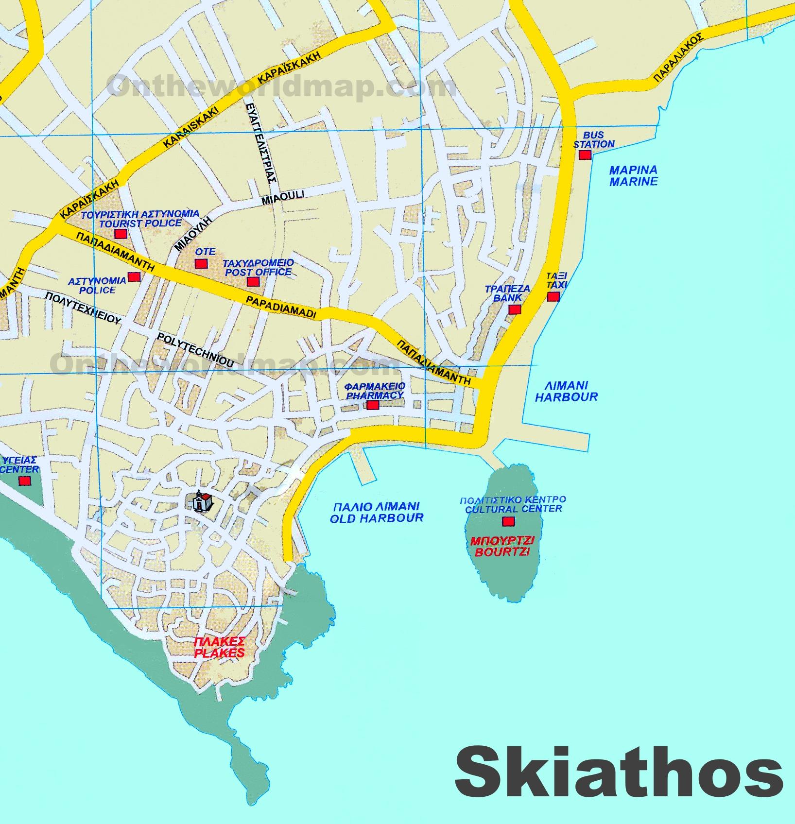 Map Of Skiathos Skiathos Town tourist map