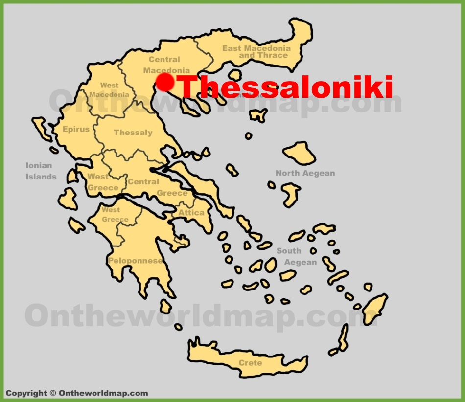 Thessaloniki location on the Greece map