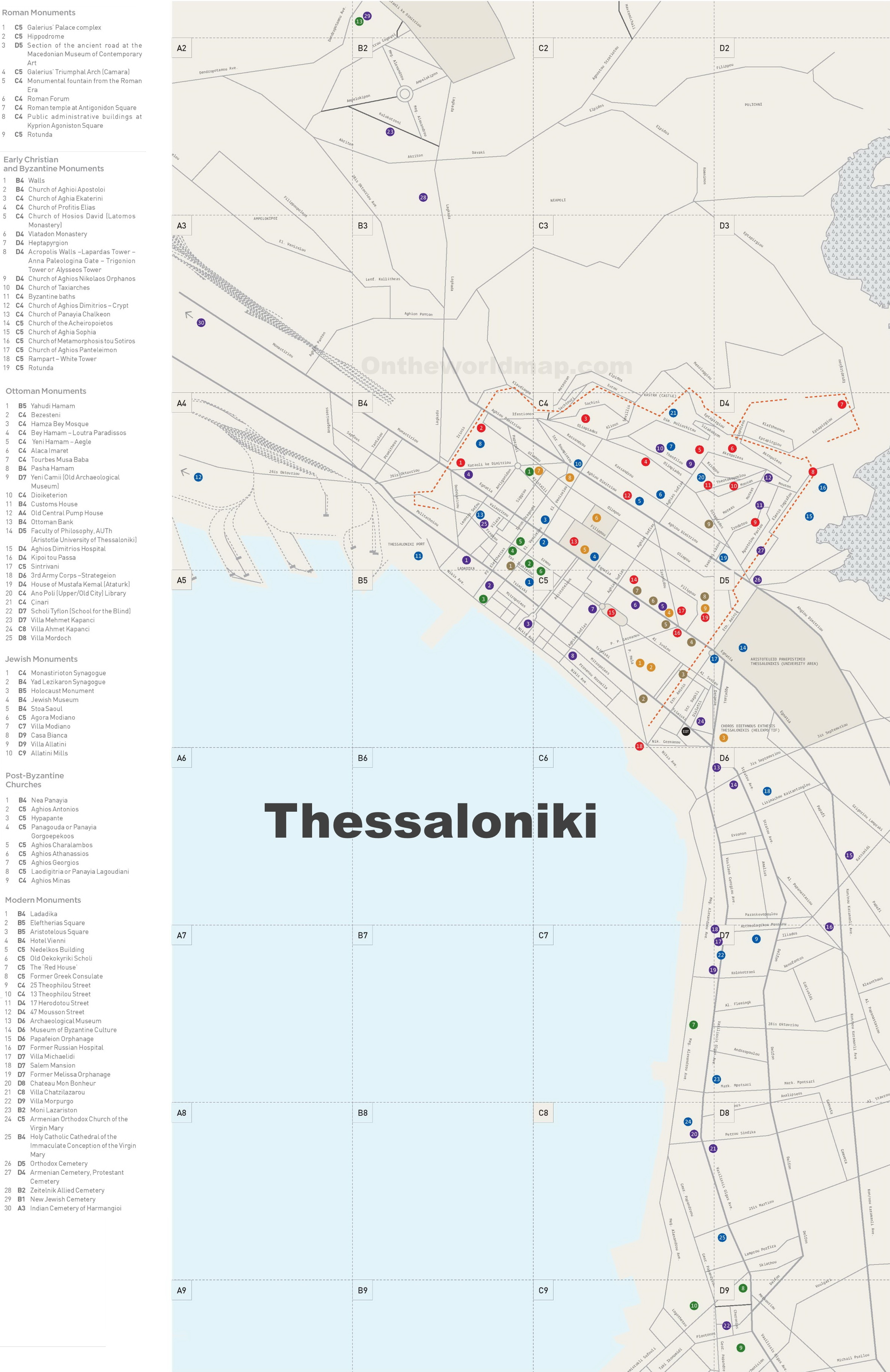 Thessaloniki monuments map