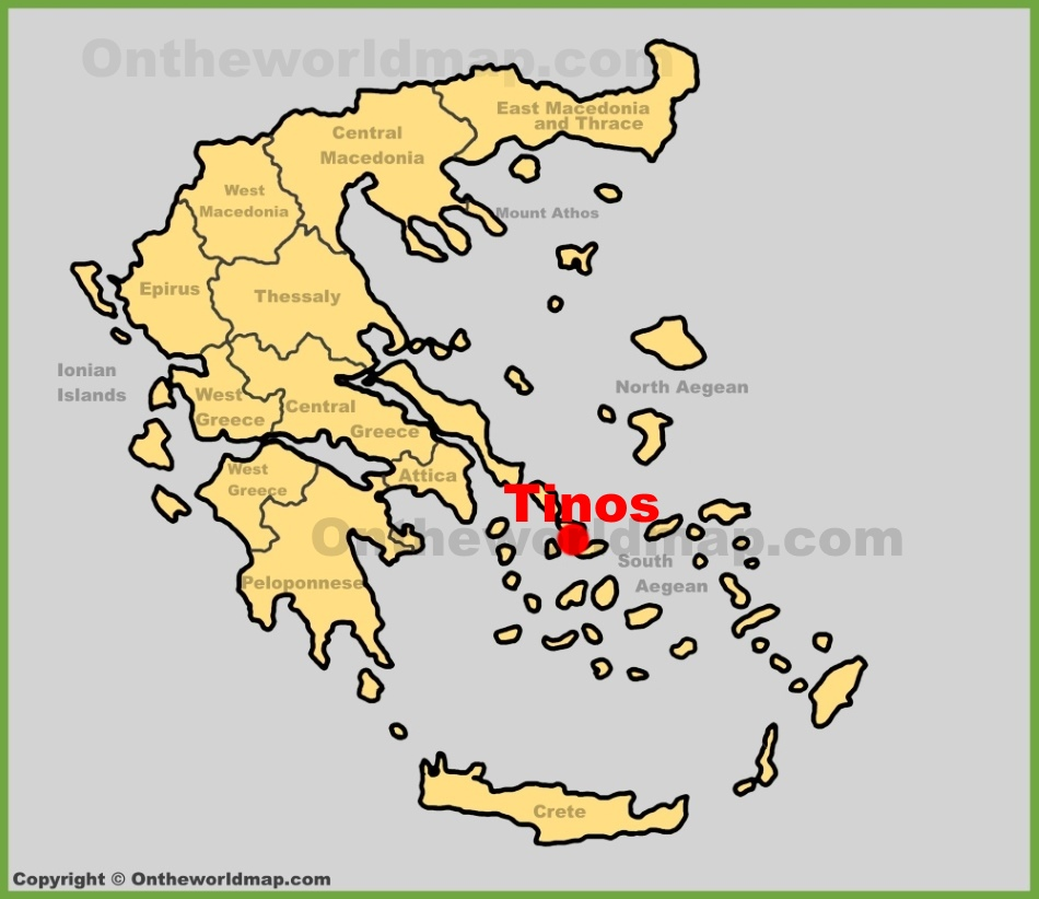 Tinos Town location on the Greece map