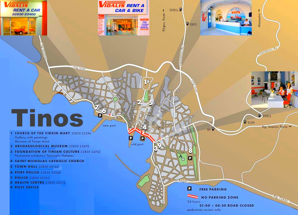 Tinos Town Maps Greece Maps of Tinos Town