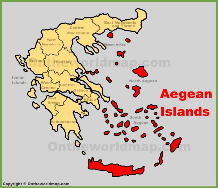 Aegean Islands location on the Greece map