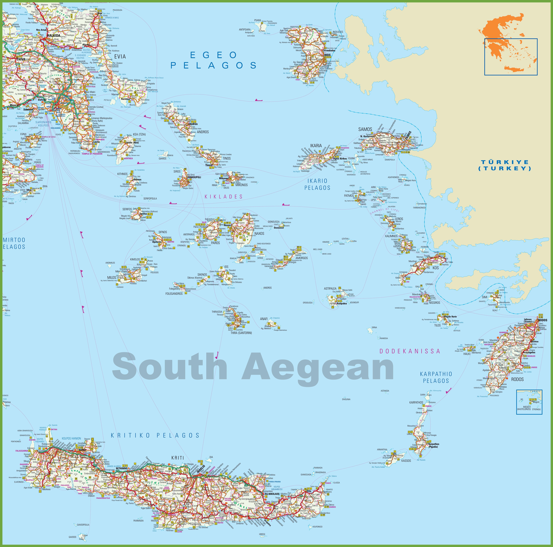 Map Aegean Islands South Aegean Islands map