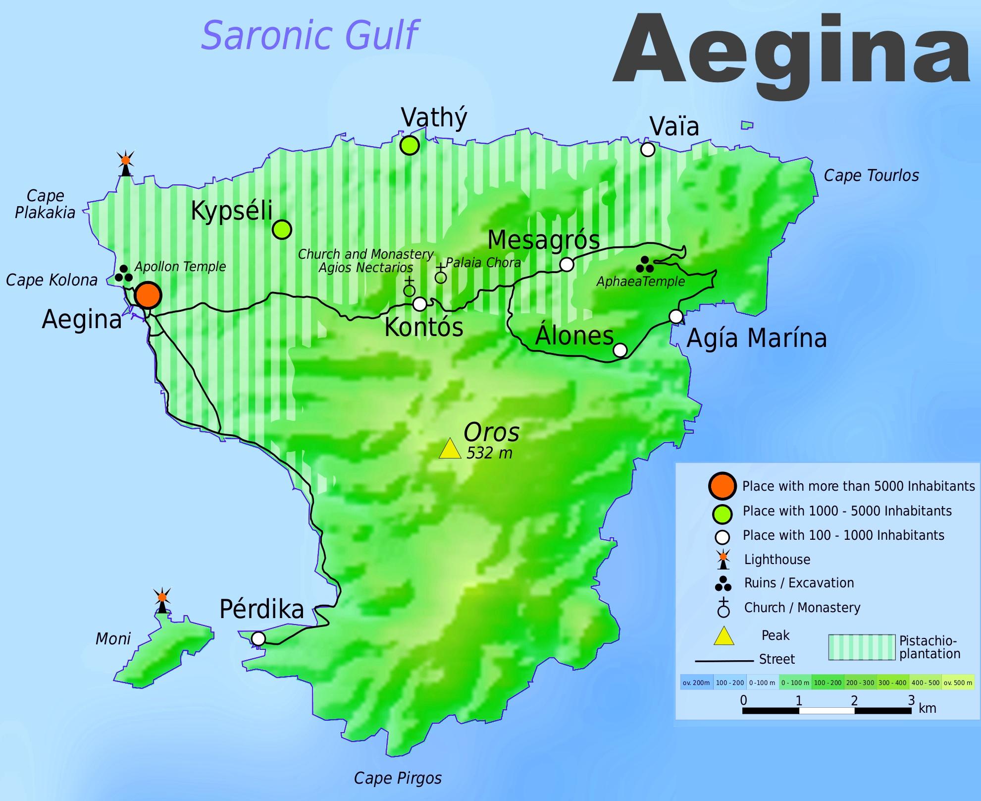 Aegina Tourist Map