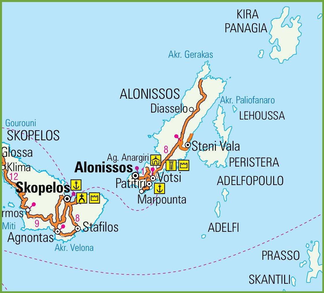 Alonnisos road map