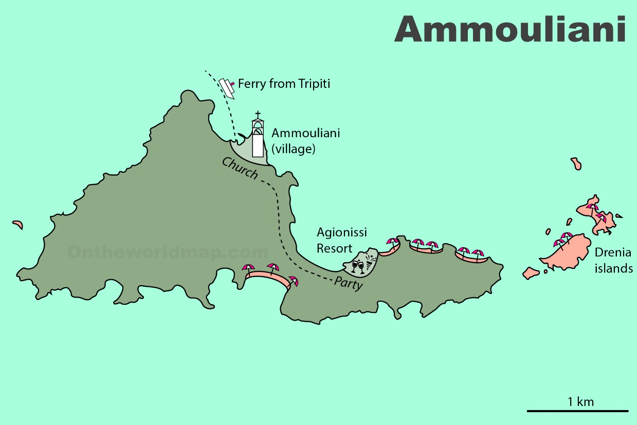 Ammouliani tourist map