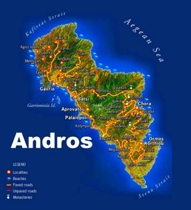 Andros beaches map