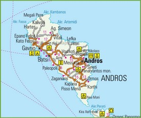 Andros Maps Greece Maps of Andros Island