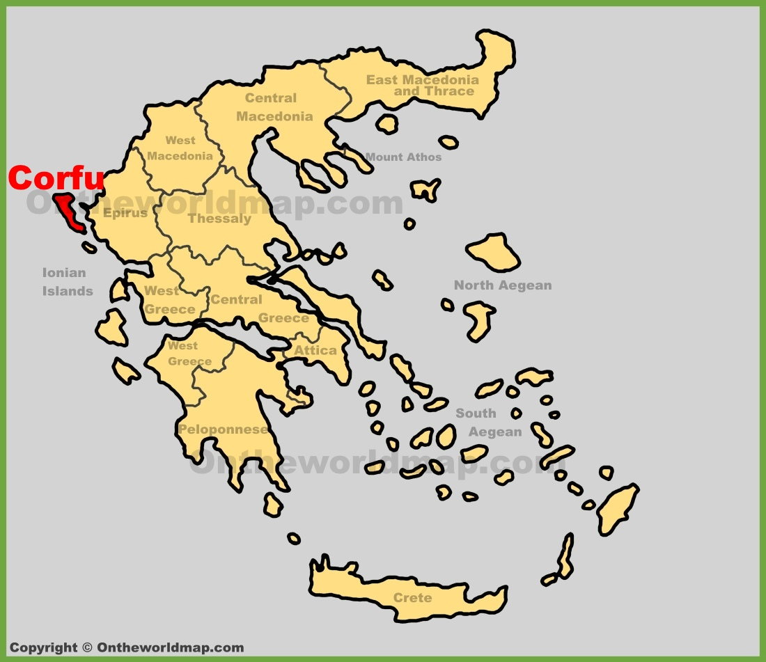 Corfu location on the Greece map