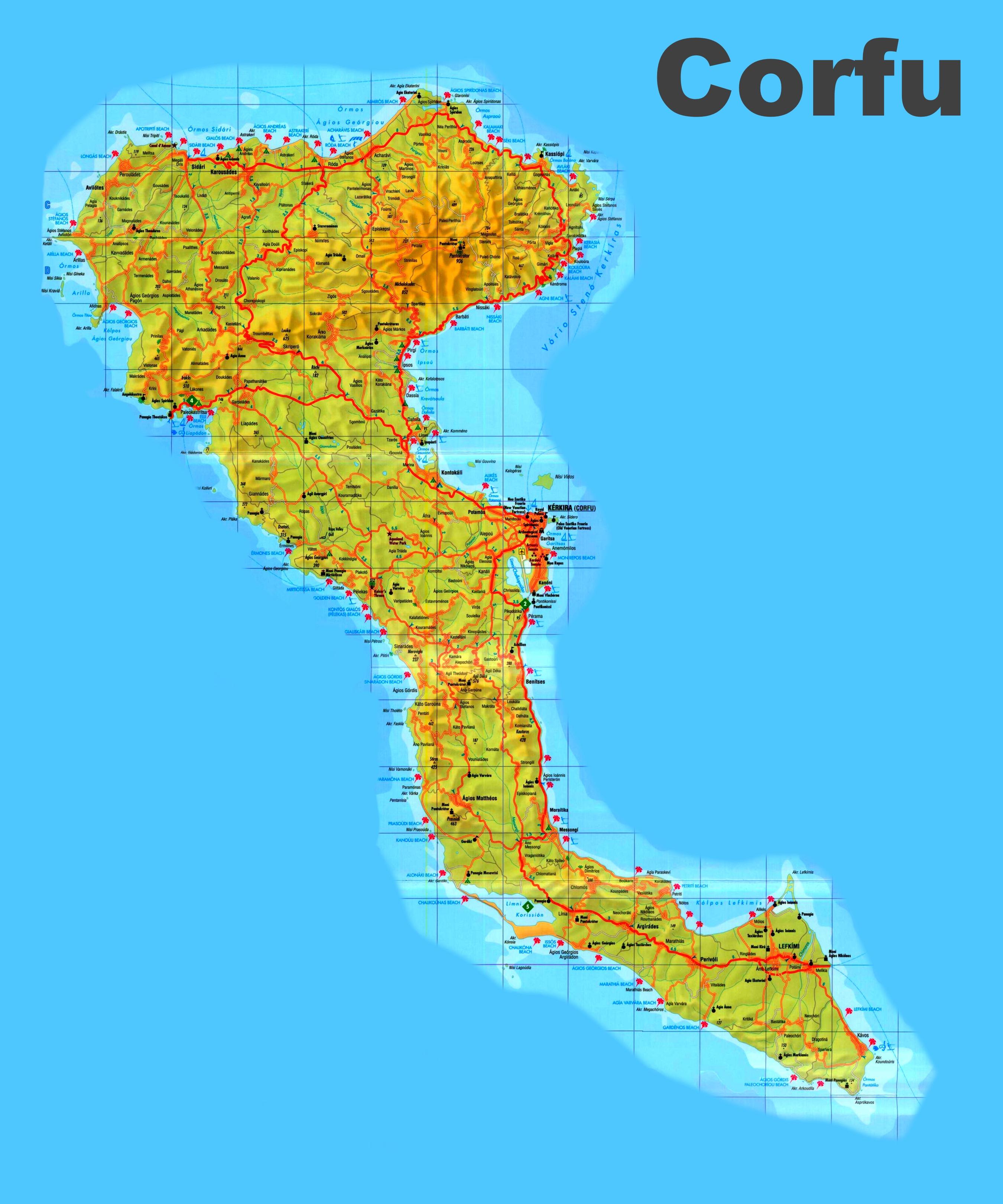 Corfu sightseeing map