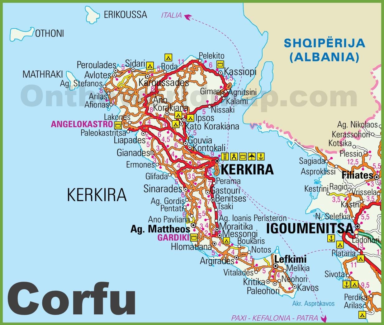 Map Of Corfu Corfu tourist map Map Of Corfu
