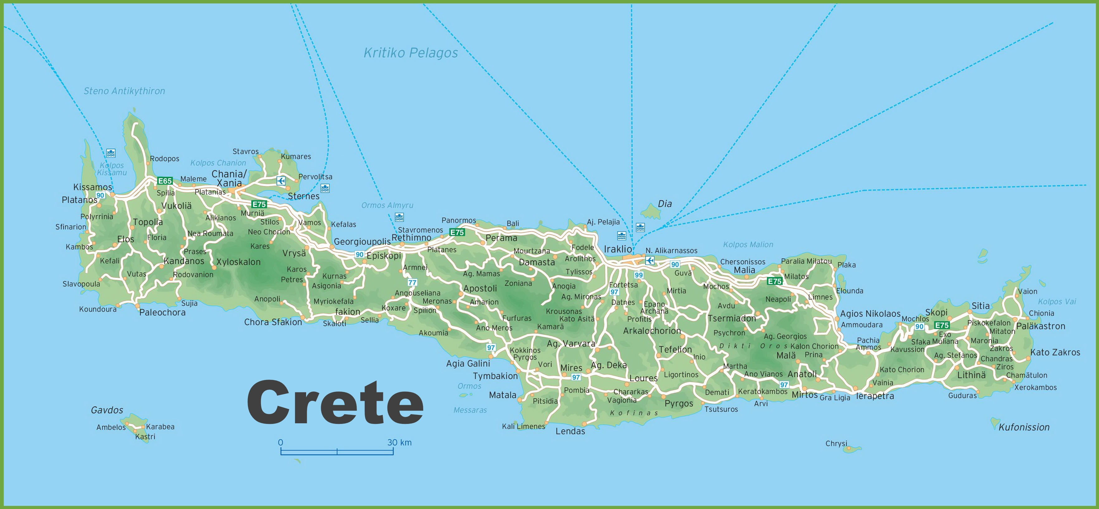 Island Of Crete Map Crete road map