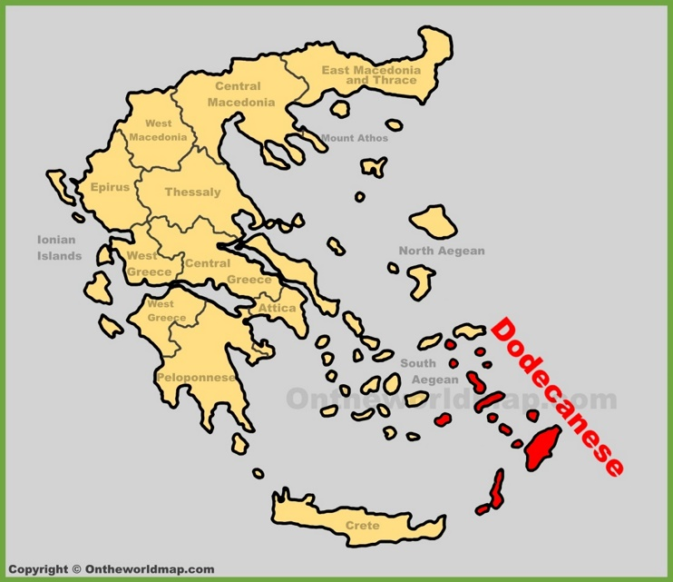 Dodecanese location on the Greece map