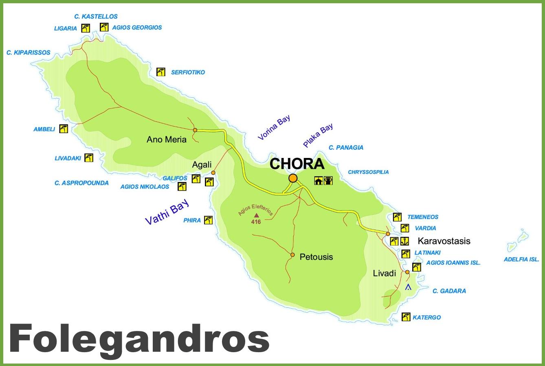 Folegandros tourist map