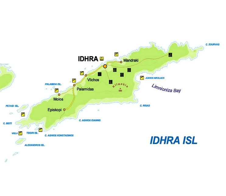 Hydra tourist map