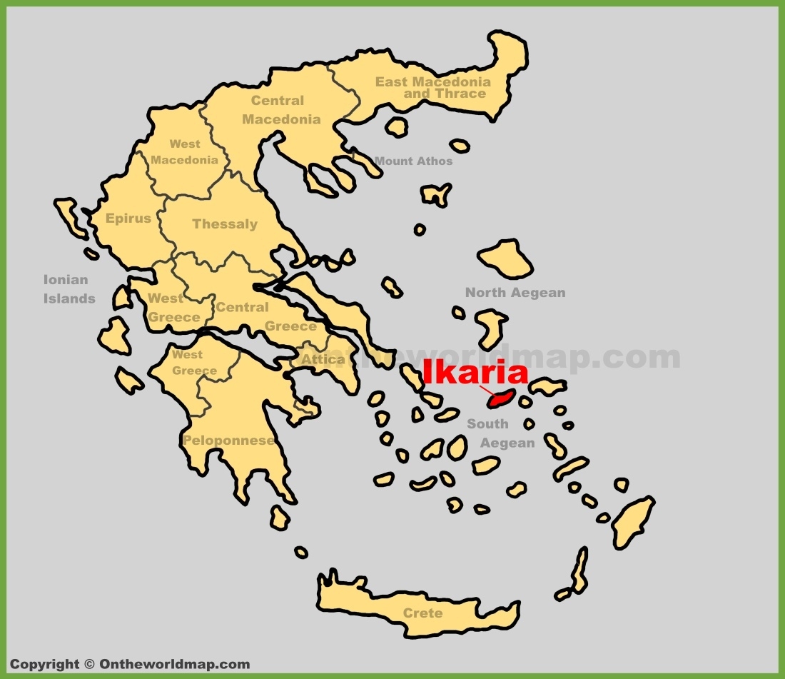 Ikaria location on the Greece map