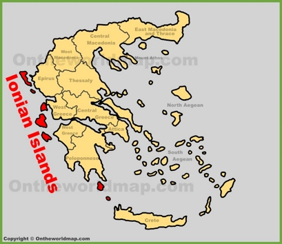 Ionian Islands Location Map