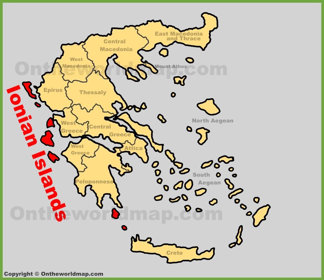Ionian Islands location on the Greece map