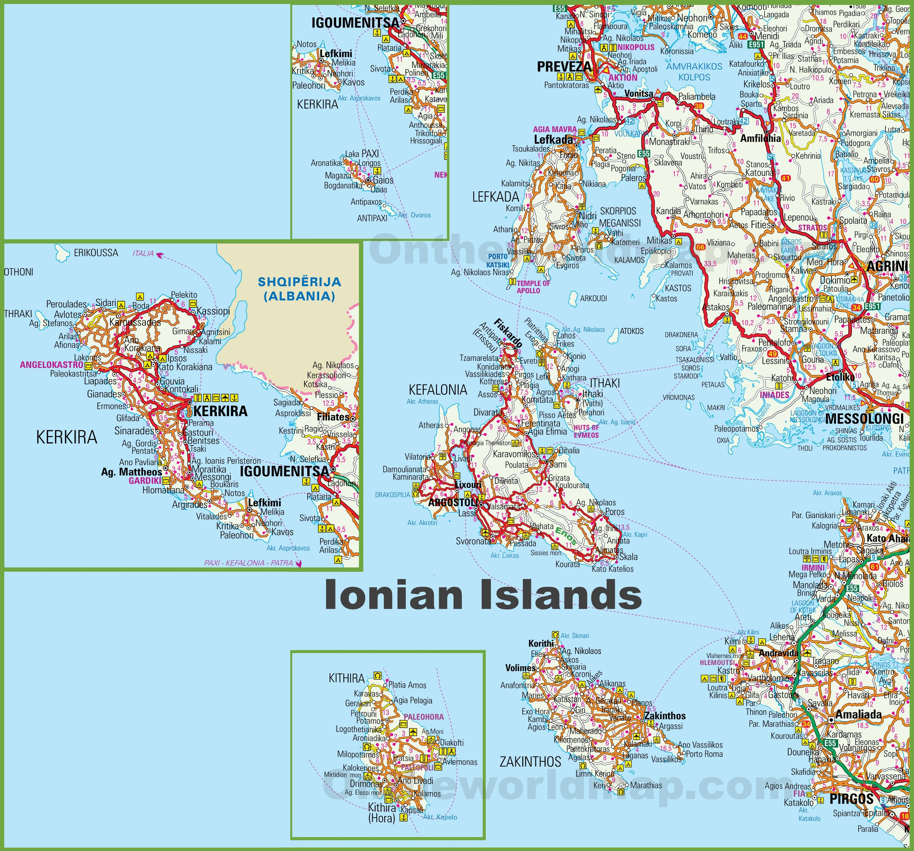 Map Of Ionian Islands Greece Ionian Islands tourist map