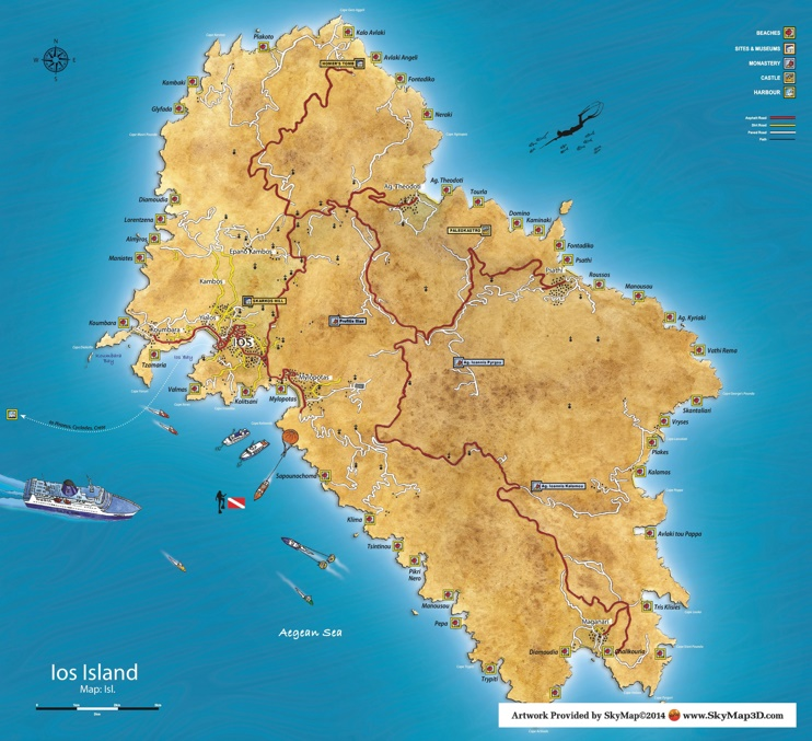 Ios island tourist map