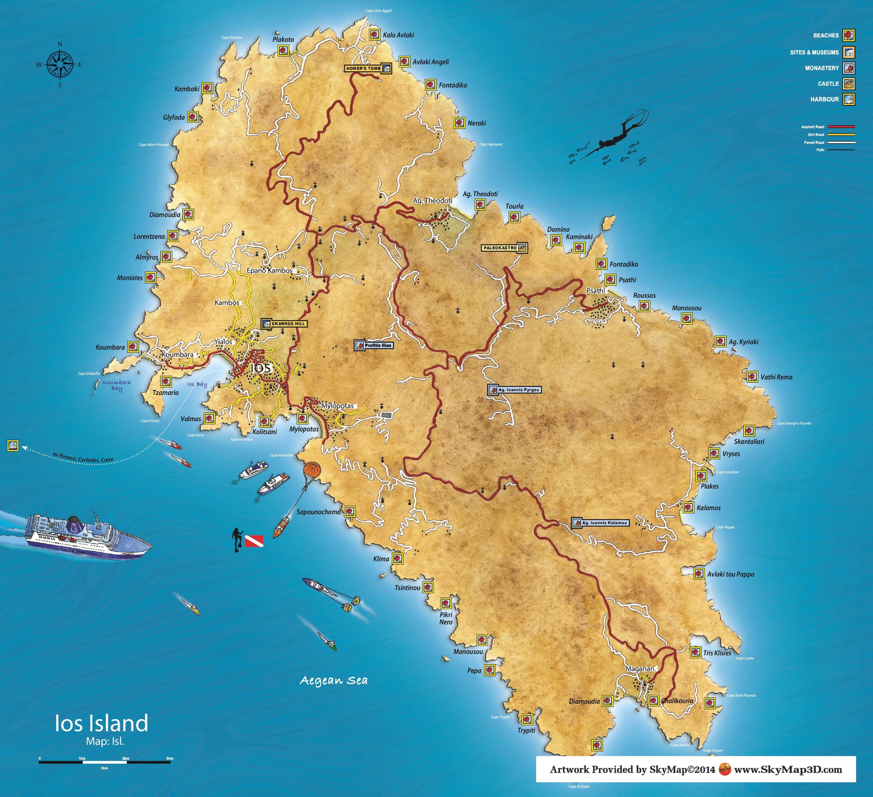 Ios island tourist map