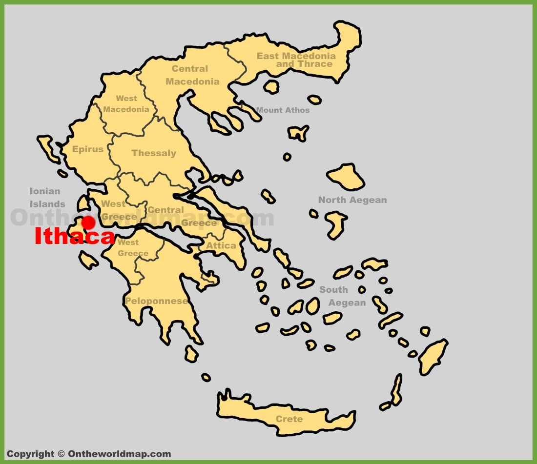 Ithaca location on the Greece map