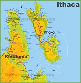 Ithaca tourist map