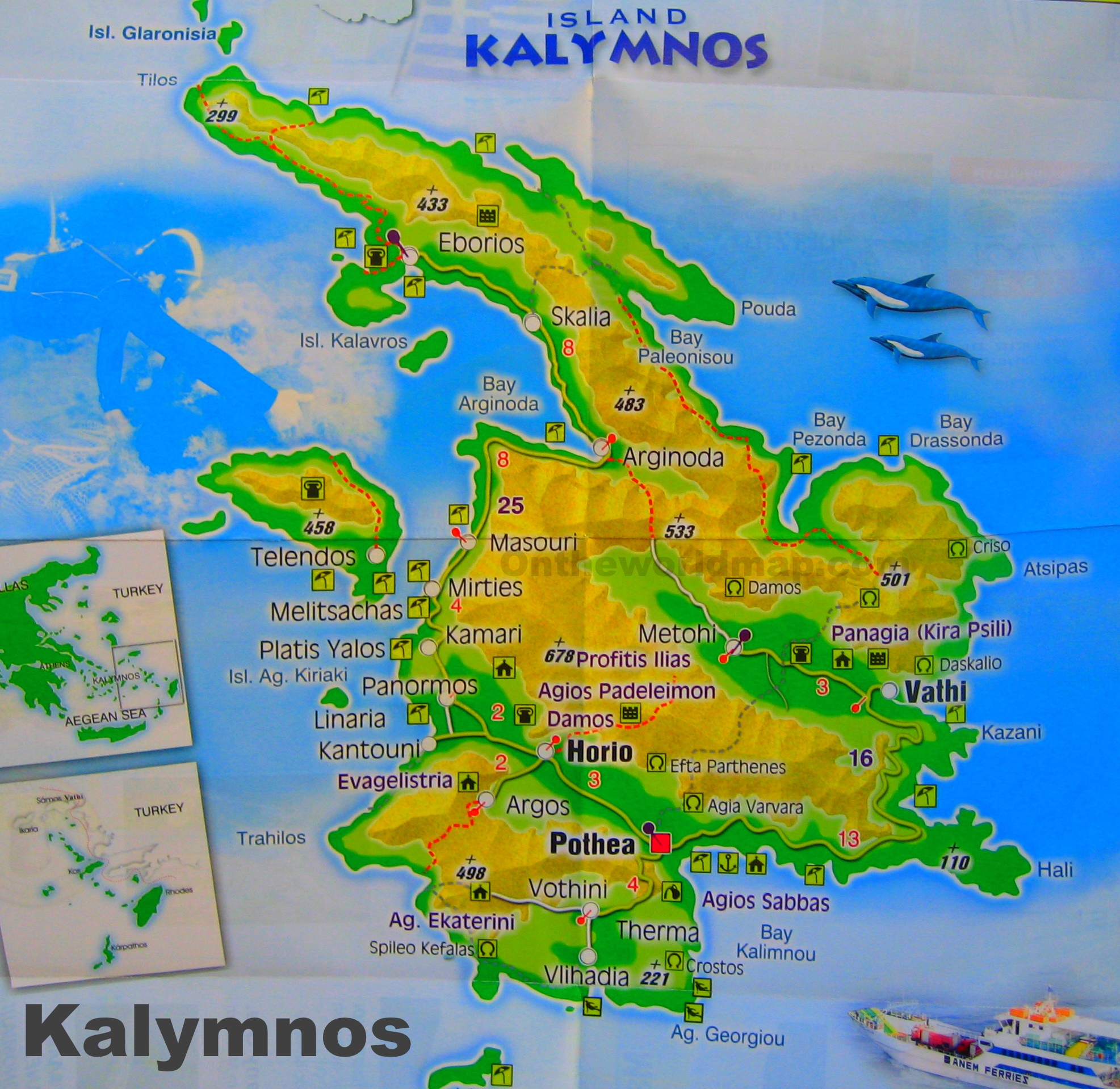 Kalymnos Maps Greece Maps of Kalymnos Island