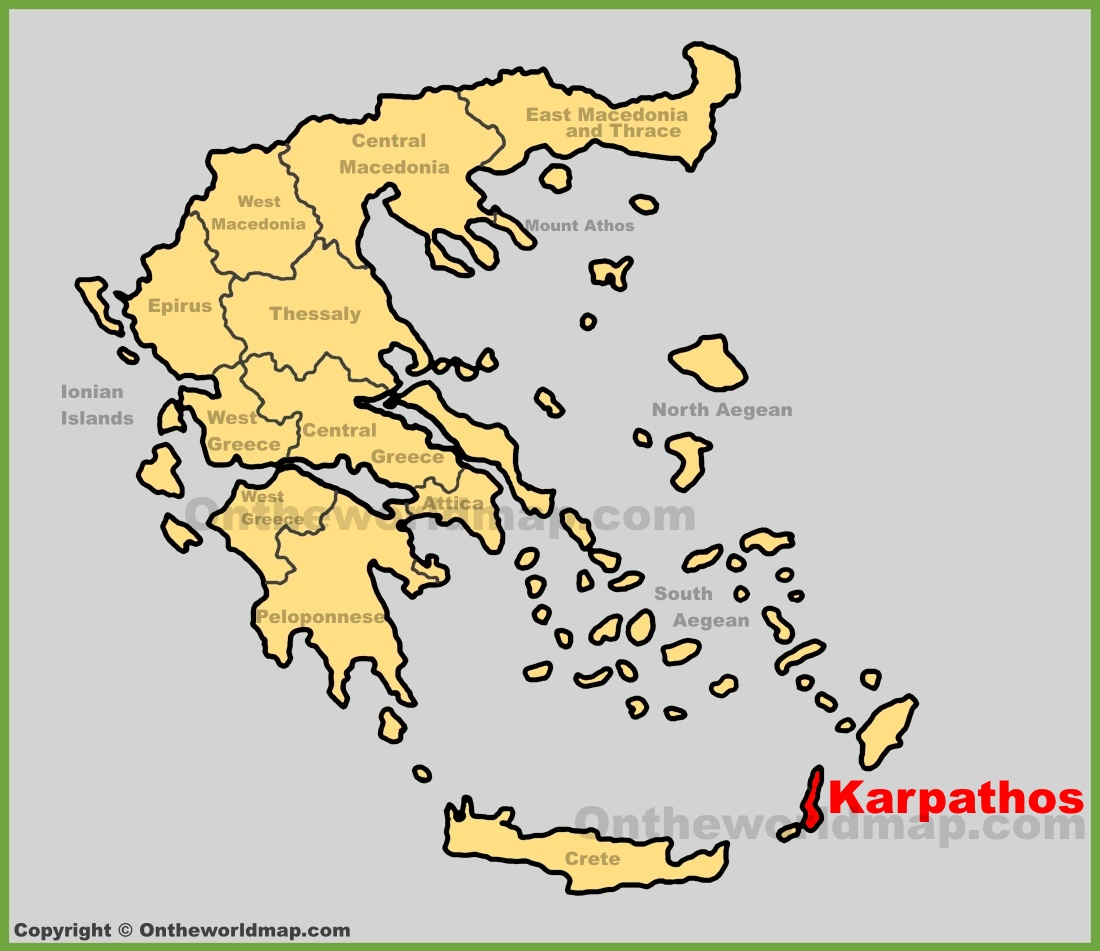Karpathos Location On The Greece Map