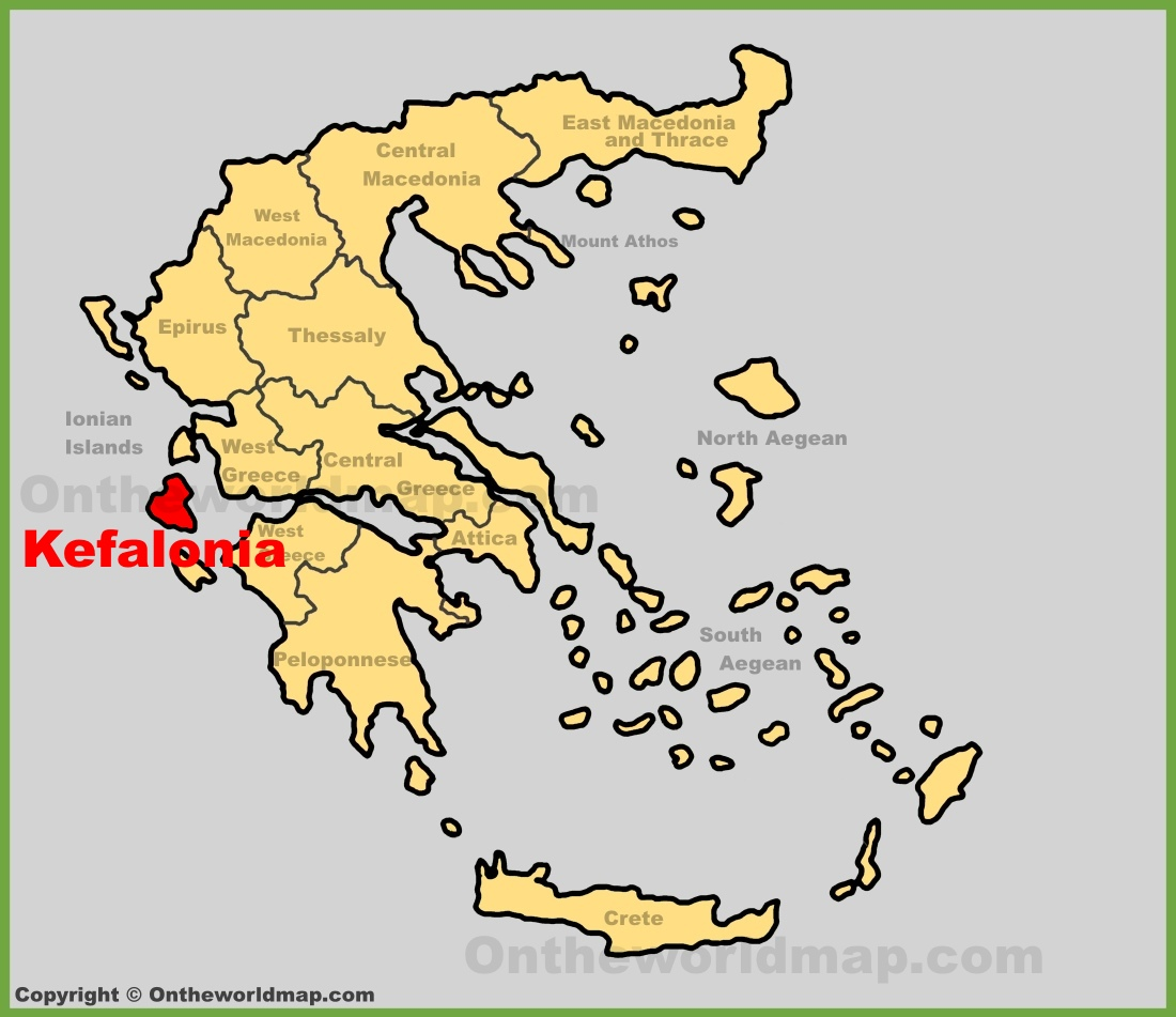 Kefalonia location on the Greece map