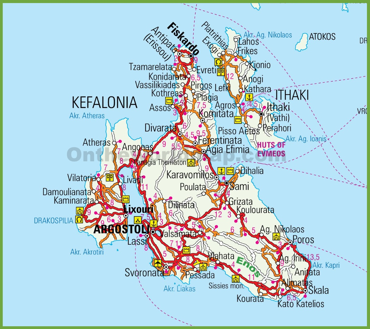 Kefalonia Island Map Kefalonia road map