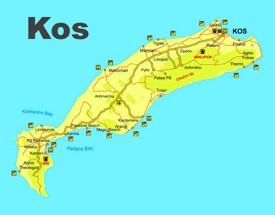 Kos beaches map