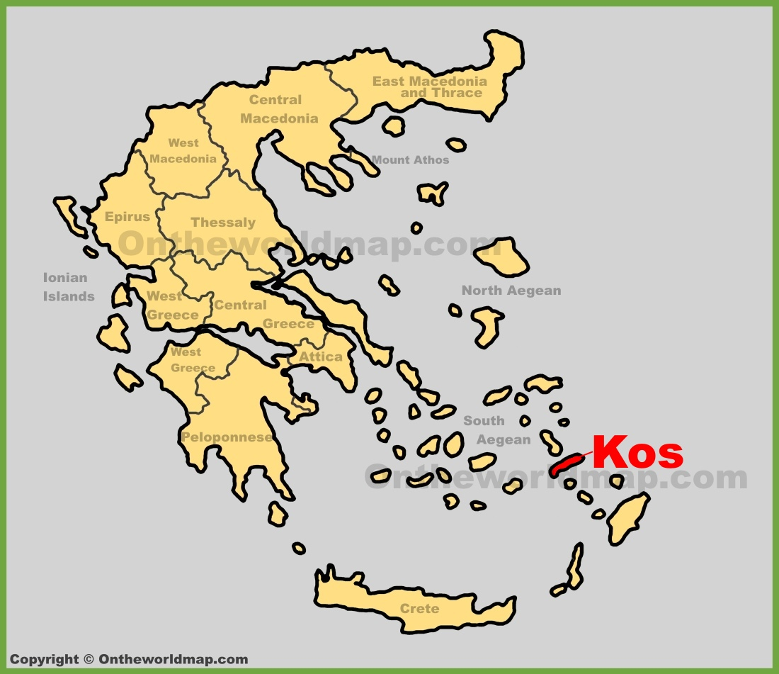 Kos location on the Greece map