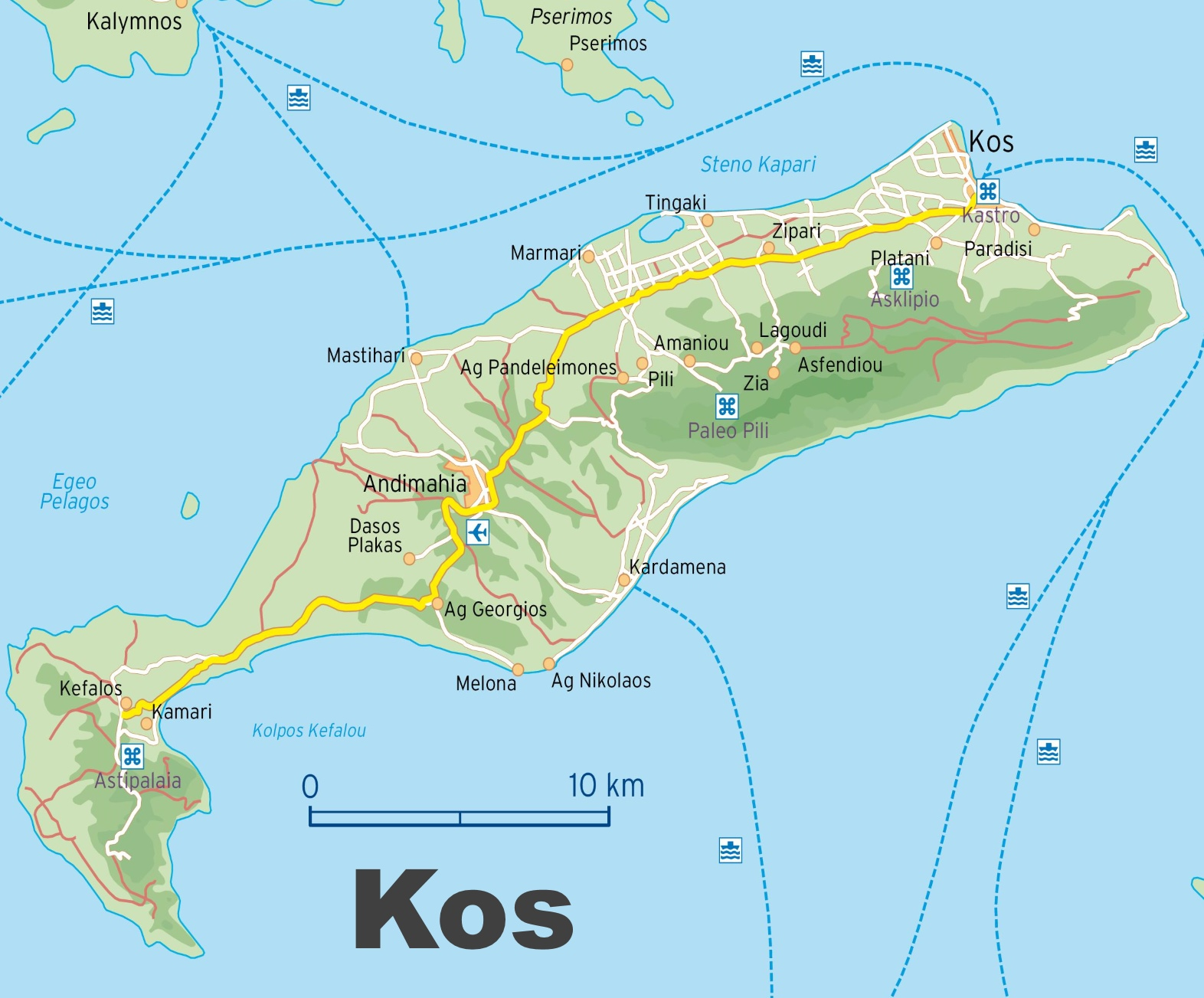 Map of Kos with cities and towns