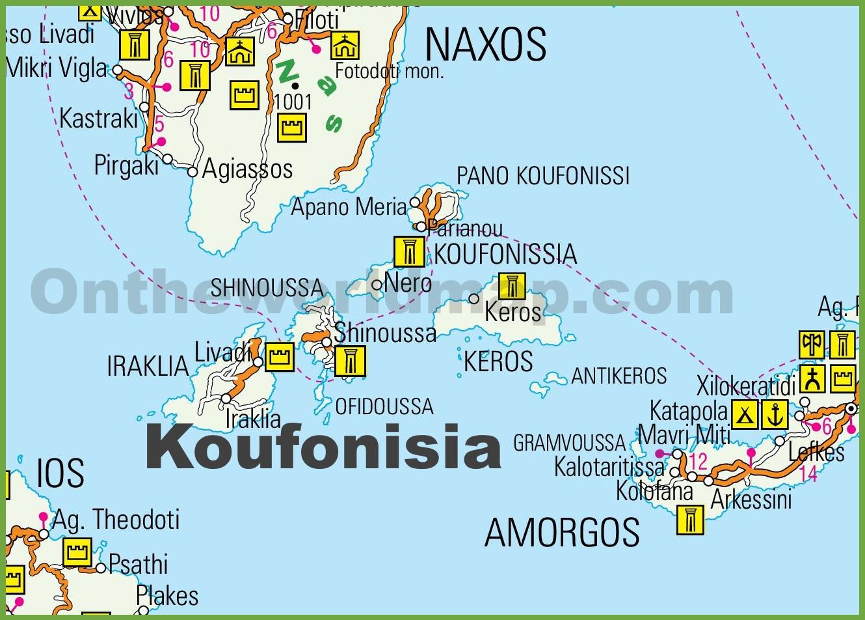 Koufonisia Maps Greece Maps of Koufonisia Islands