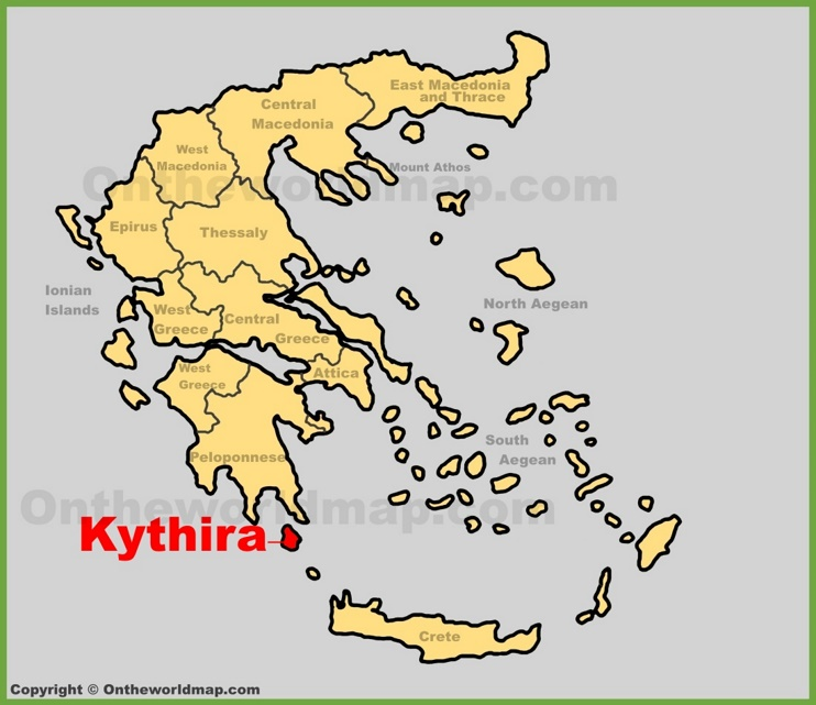 Kythira location on the Greece map