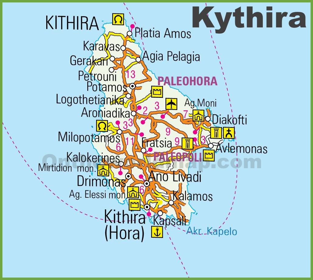 Kythira Maps Greece Maps Of Kythira Island