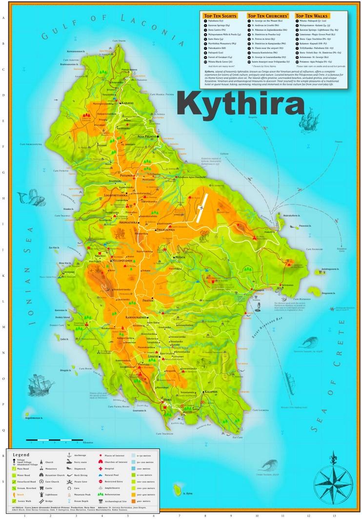 Kythira sightseeing map