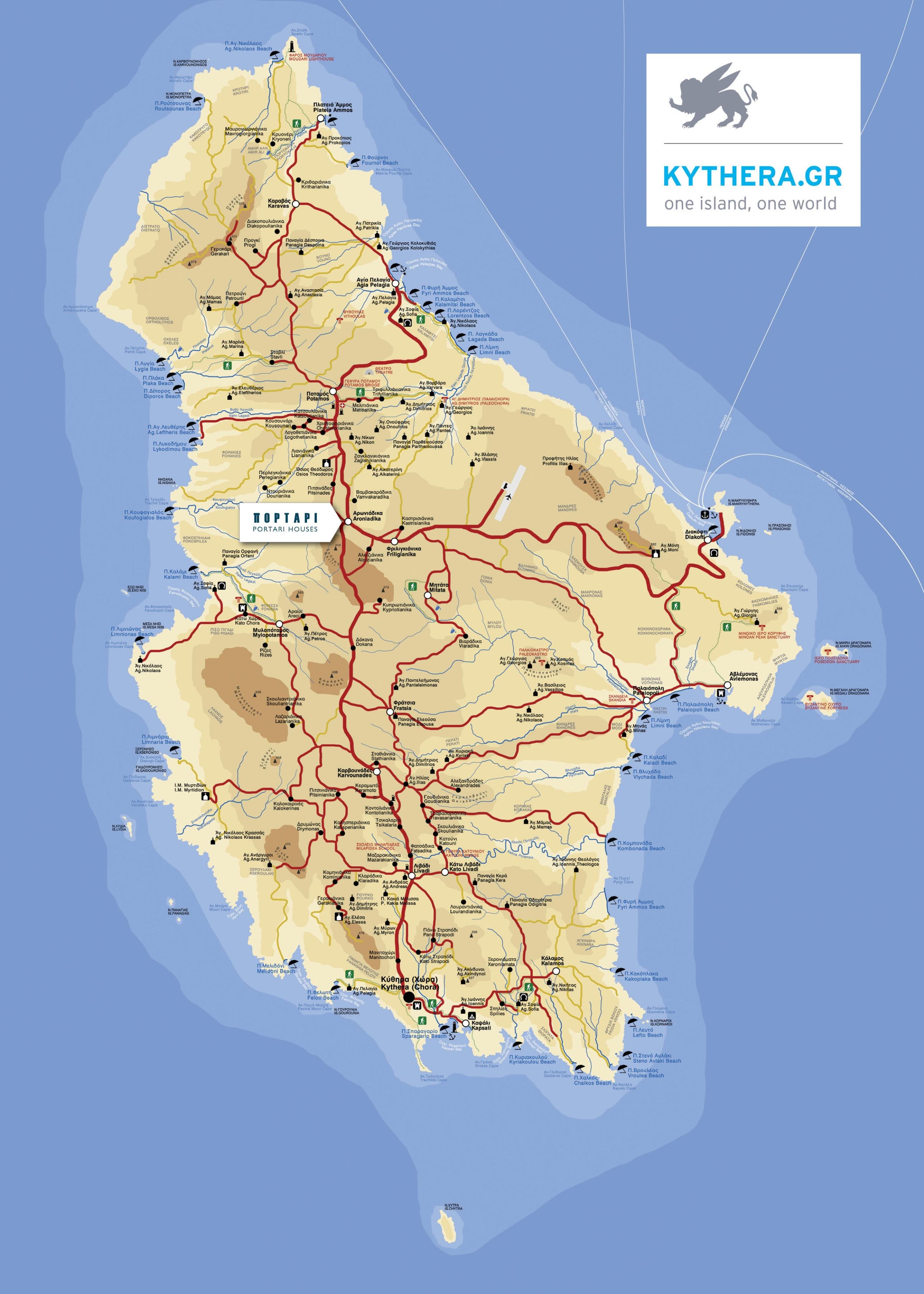 Kythira Tourist Map