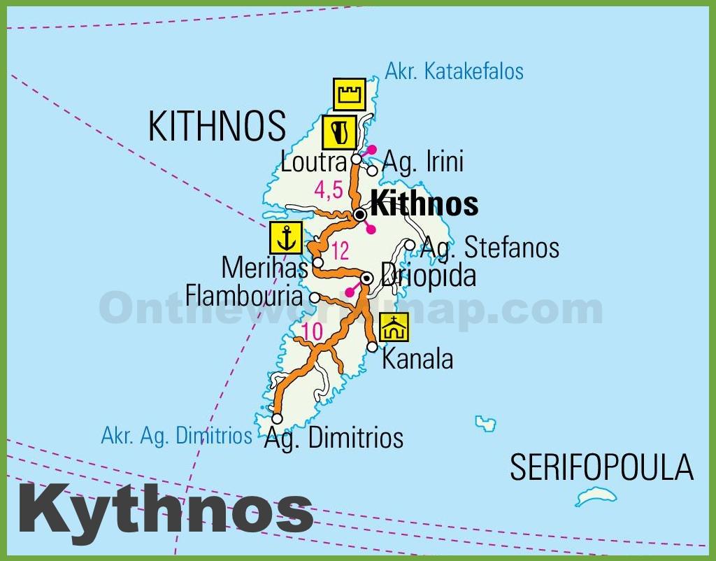 Kythnos Maps Greece Maps of Kythnos Island
