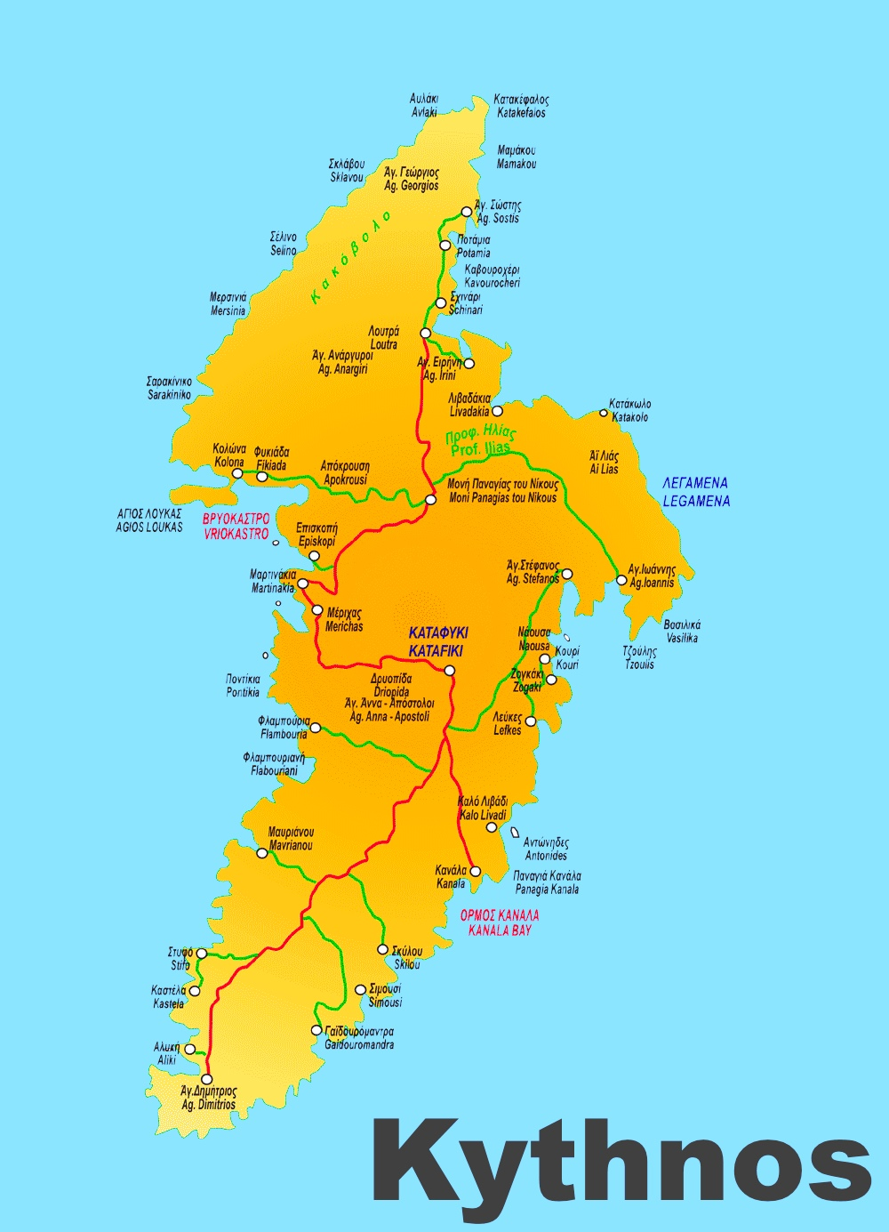 Kythnos tourist map