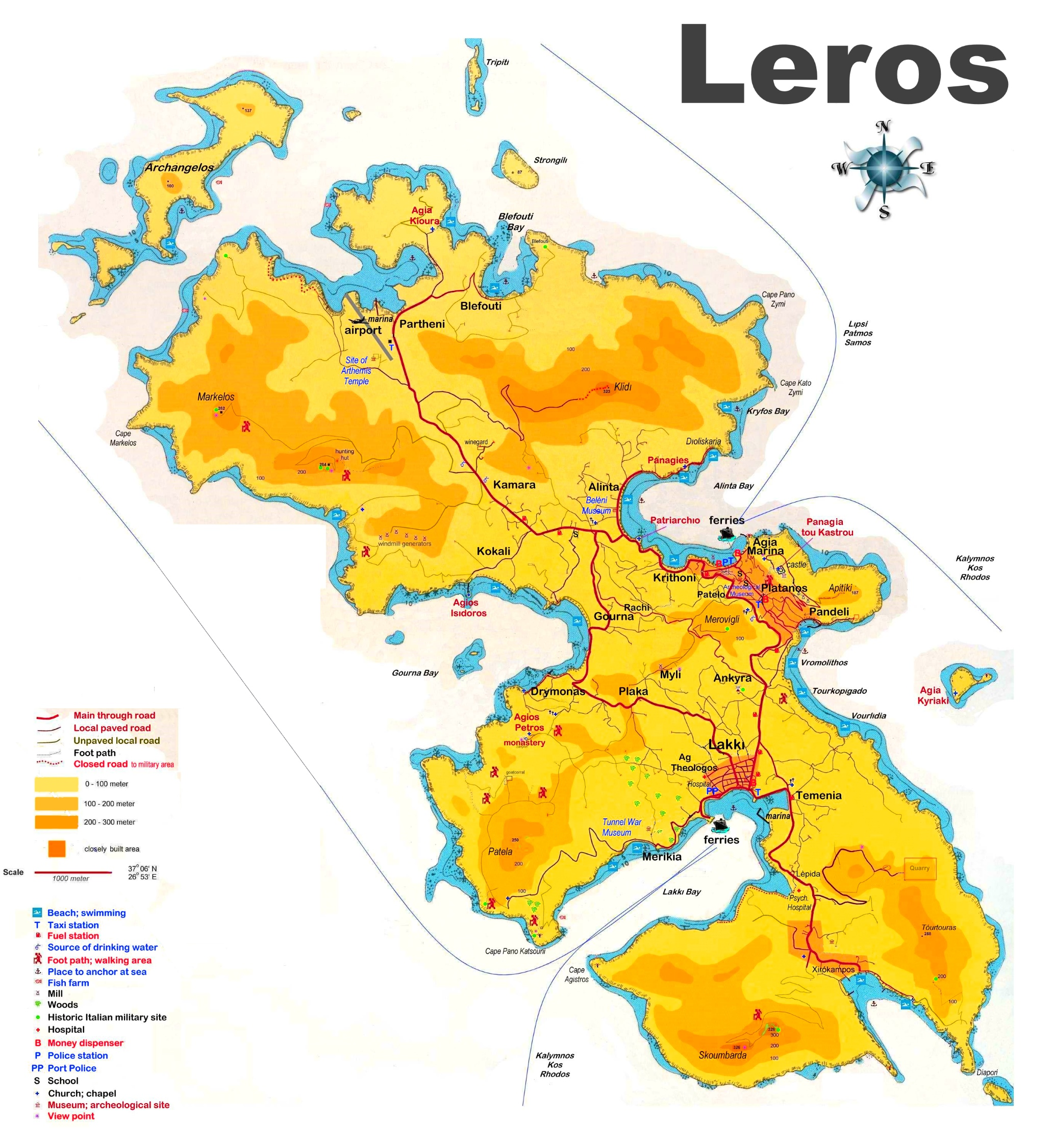 Leros tourist map