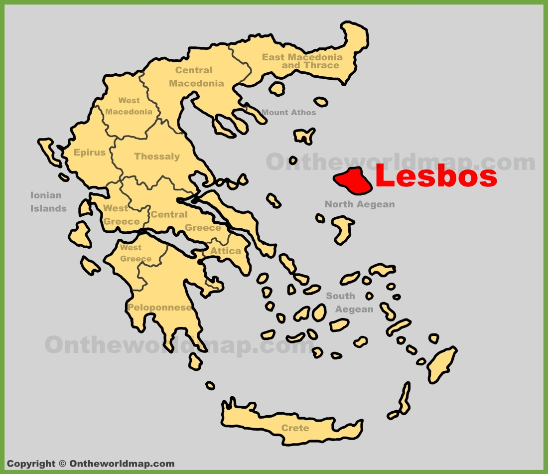 Lesbos location on the Greece map