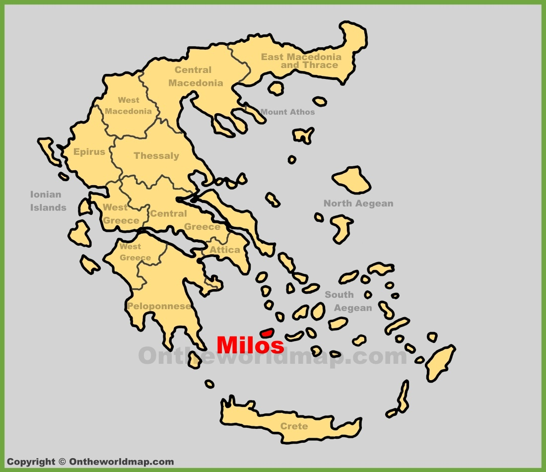 Milos location on the Greece map