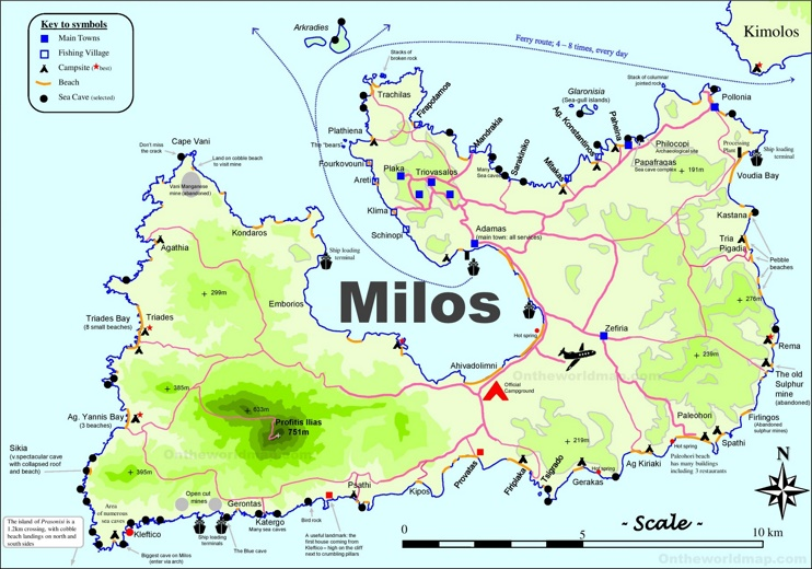 Milos tourist map