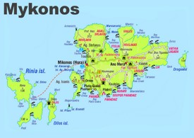 Mykonos sightseeing map