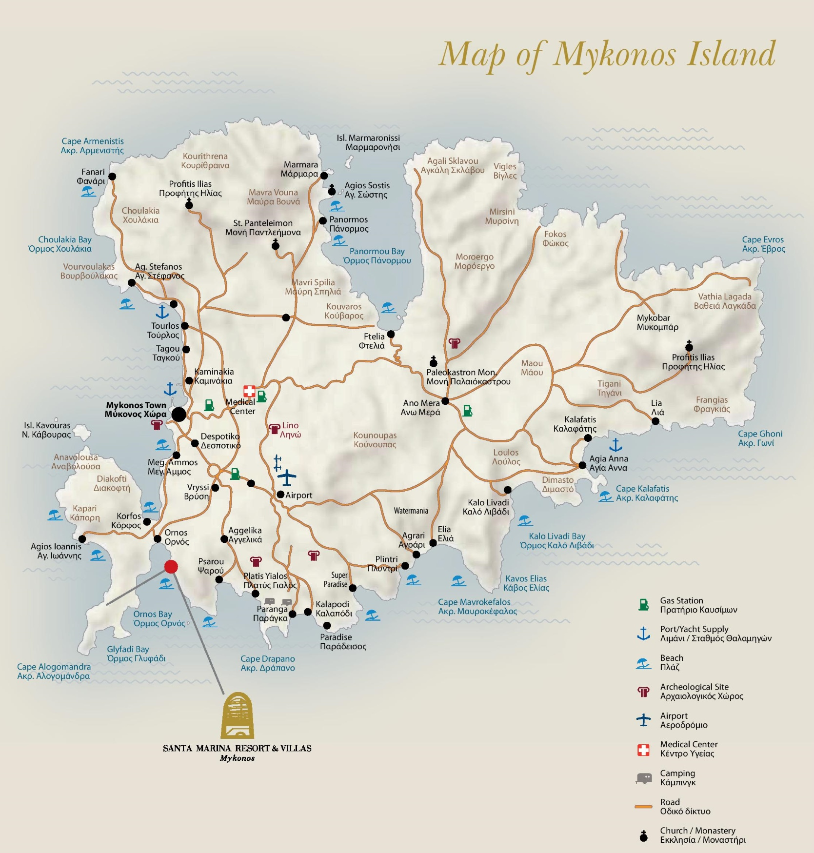 Mykonos tourist map