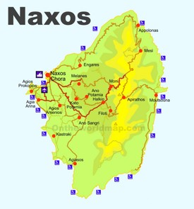 Naxos beaches map
